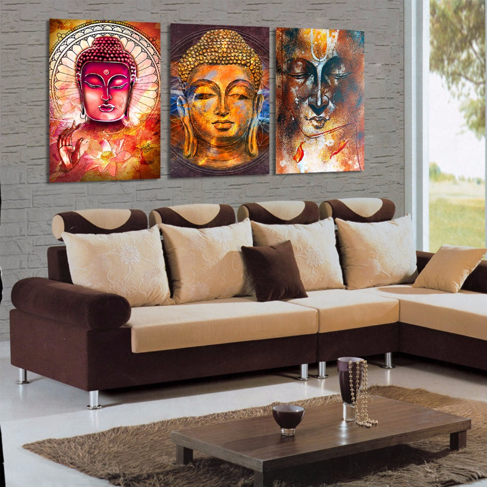 Three Buddha Canvas Print Wall Art