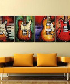 4 piece guitar canvas print