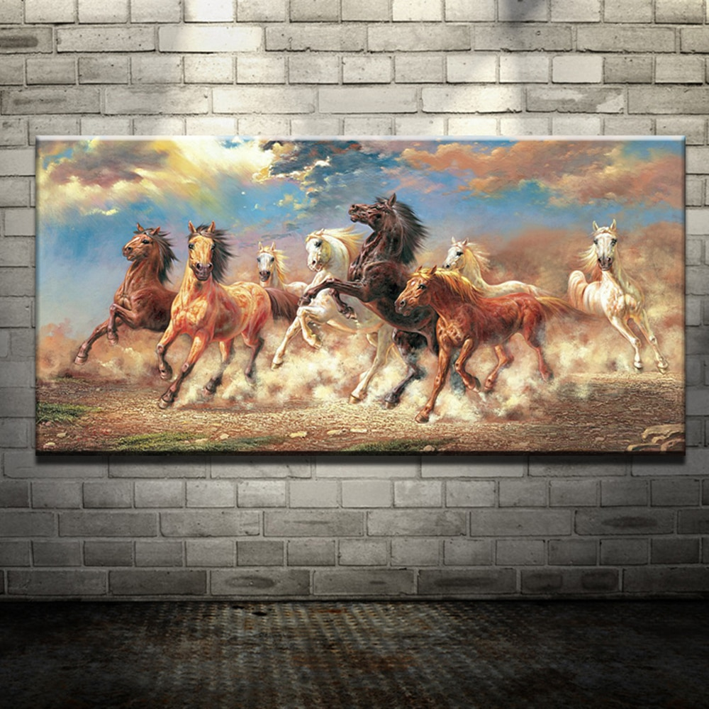 8 Horse Canvas Print Home Decor Wall Art