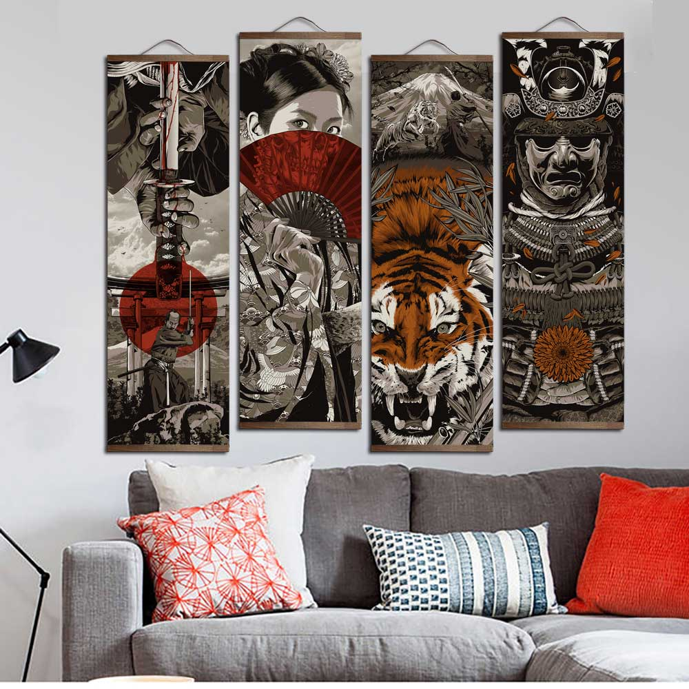 Ukiyoe Anese Canvas Print Wall Art Hanging Scroll Decor