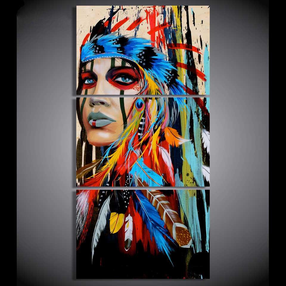 Native American Illustration Art//Canvas Print Poster Home Decor Wall Art